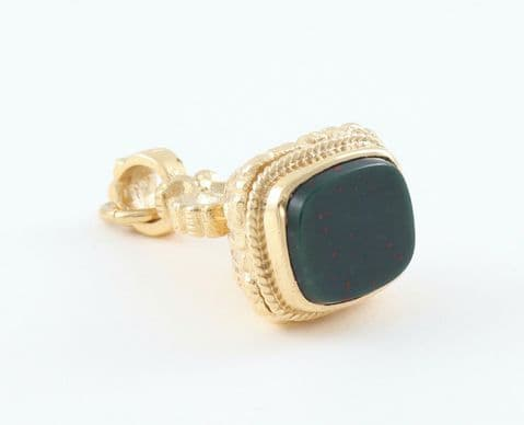 Vintage 9Ct Gold And Bloodstone Fob / Pendant